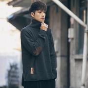 秋冬季潮牌高领毛衣男装日系复古长袖线衣青年打底针织衫外套
