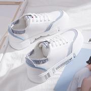 2019春季小白鞋女学生鞋子女百搭帆布鞋拼色厚底运动板鞋