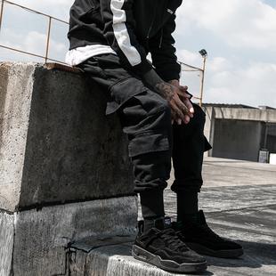 冬季男士裤宽松长裤子束脚裤黑色哈伦裤工装裤加厚收口小脚潮