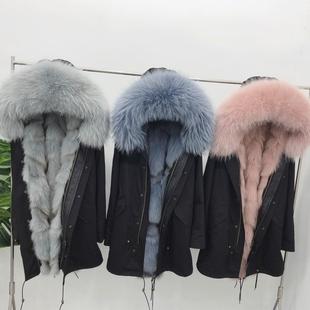 派克服2018女狐狸毛内胆外套中长款大毛领星星款派克大衣皮草