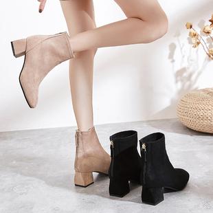 方头粗跟短靴女春秋2018加绒网红瘦瘦靴冬短筒马丁靴中跟裸靴
