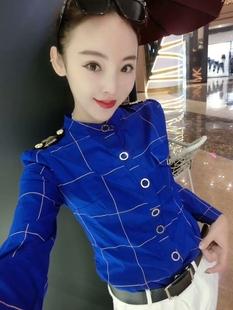 欧洲站2019春季长袖衬衫女时尚肩章显瘦上衣百搭女装