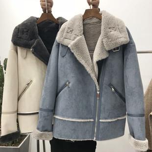 2018冬季宽松显瘦短款白色加厚羊羔毛麂皮绒外套加绒保暖棉衣女装