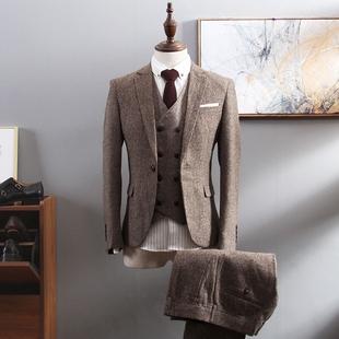 西服套装男商务正装三件套职业英伦风小西装新郎结婚礼服