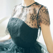 蕾丝打底衫女夏短袖内搭镂空吊带裙外搭短款透明薄纱透视纱网上衣