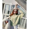 娃娃家韩国秋chic宽松麻花长袖下摆撕破短款针织长款毛衣女