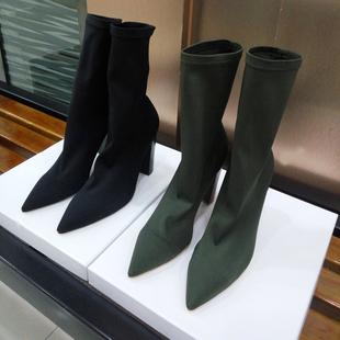 潮范 欧美尖头粗跟弹力靴袜靴女短靴黑色军绿色高跟瘦瘦靴中筒靴