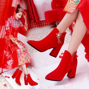 结婚鞋女冬季2018高跟粗跟冬天新娘鞋红色中跟中式秀禾服婚鞋