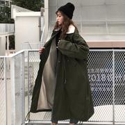 秋冬2018宽松bf羊羔毛加厚保暖中长款大衣棉衣学生女外套