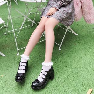 小梅家定制真皮欧美大牌水钻高跟圆头布洛克雕花可爱学院风单鞋