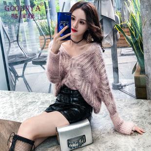 格润雅镂空针织罩衫秋装女2019性感V领蝙蝠袖宽松套头毛衣韩