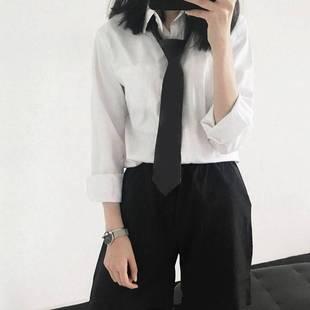 日系衬衣学生制服酷酷学院风百搭大码领带加绒软妹少女长袖衬衫潮
