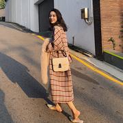 2018流行双面羊绒大衣女秋冬格子中长款手工羊毛呢子外套