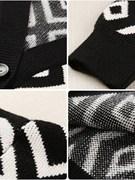 潮牌秋冬季中长款便宜撞色外套针织衫女学生毛衣V领黑白