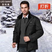 中老年男装棉衣男士商务装中年保暖棉服外套冬装潮中厚款