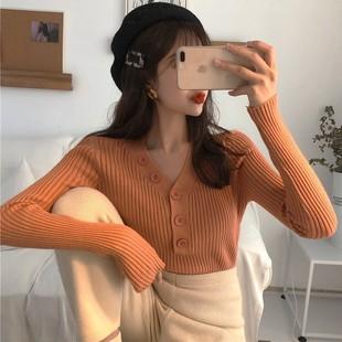 2019春季V领单排扣针织衫毛衣长袖套头打底衫上衣女装