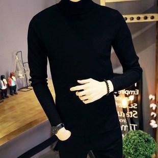 秋冬季保暖高领针织衫男士纯色加厚毛衣男生潮流帅气线衫