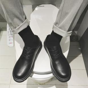 圆头小皮鞋男学生鞋子男士百搭内增高大头鞋黑色英伦潮鞋