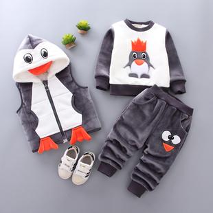 男宝宝冬装套装2018男童加绒加厚卫衣三件套0一1-3岁潮衣