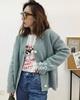 西子铺 韩国制18秋季莫兰迪蓝绿色加厚百搭V领针织毛衣开衫女