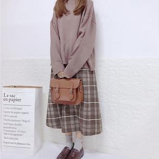 早秋女两件套裙中长款格子半身裙宽松针织毛衣气质时尚套装小清新