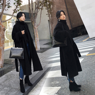 黑色毛呢外套女冬季超长款过膝系带廓形双面羊绒手工羊毛呢子大衣