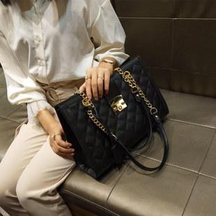 大包包2018女包欧美2019尚菱格链条包潮锁扣单肩包百搭手提包