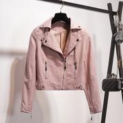 衣橱2018秋冬chic小皮衣女短款粉色外套显瘦pu皮夹克机车