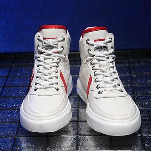 高帮鞋男潮流真皮高邦鞋嘻哈百搭男生鞋子秋冬季学生运动板鞋