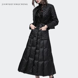 欧洲站2018秋冬时尚两件套女羽绒服外套小香风羽绒半身裙欧货套装