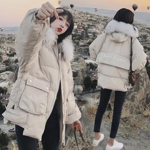 棉袄2018冬女装ins面包服中长款羽绒棉衣宽松加厚外套棉服潮