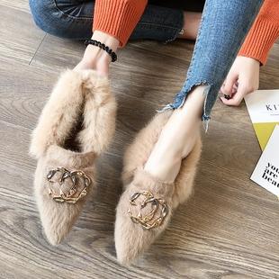 网红毛毛鞋女冬外穿2018百搭高跟豆豆鞋尖头加绒粗跟单鞋