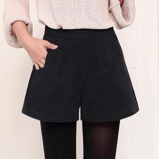 毛呢短裤女冬季2018显瘦高腰秋冬款百搭阔腿宽松外穿打底靴裤