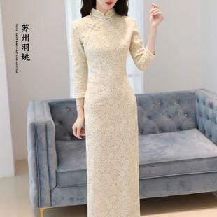 秋冬少女甜美七分袖蕾丝中式复古改良日常长款旗袍连衣裙年会