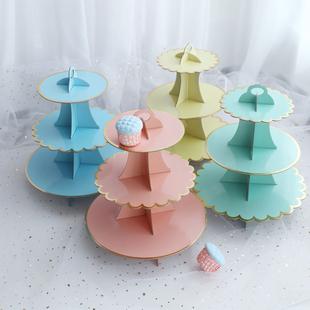 三层生日蛋糕架 生日派对蛋糕架子点心盘 蛋糕盘 纸杯托盘