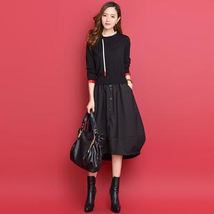 气质拼接针织假两件连衣裙秋冬装女2018半高领螺纹长袖灯笼裙
