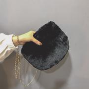 包包女2018秋冬毛毛包女百搭毛绒包时尚单肩手提包斜挎包