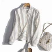 法国订单 衬的肤白又貌美精美蕾丝 长袖棒球服宽松夹克外套女18