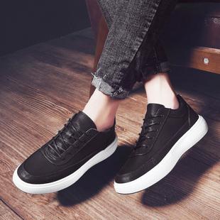 秋冬季潮流男士黑白色板鞋男运动鞋百搭潮男鞋子英伦皮鞋