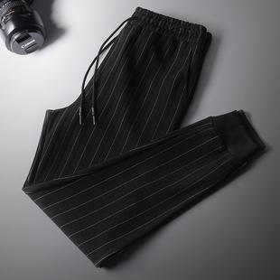 裤男士裤子男潮流秋冬季加绒加厚运动裤小脚哈伦裤男