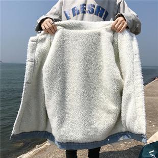 羊羔毛棉服牛仔外套女秋冬2018学生宽松加绒加厚棉袄上衣