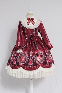 Alice girl原创 Lolita笼中梦柄蝴蝶结绑带蕾丝OP 长袖连衣裙