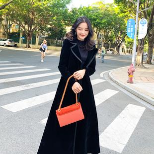 黑色大衣女过膝超长款到脚踝2018秋冬气质金丝绒加厚风衣外套