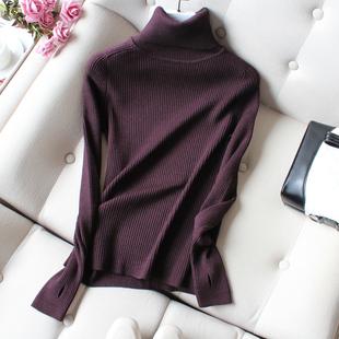 高领毛衣女2018秋冬紧身内搭线衣加厚套头长袖针织打底衫