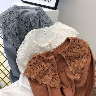 2018秋装洋气小衫纯色衬衫蕾丝衫仙女娃娃领雪纺上衣衬衫