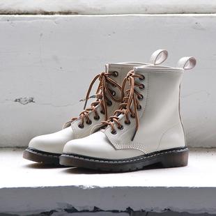 自然卷短靴女2018秋冬复古真皮英伦风学生鞋显瘦平底马丁靴女