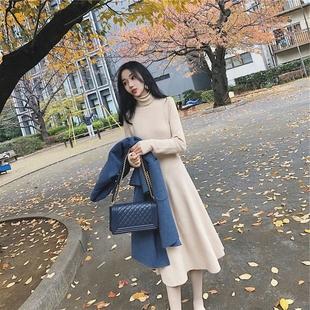 加厚冬季针织小清新高领长款毛衣女2018毛衣裙中长款甜美冬裙