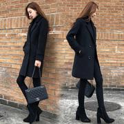 毛呢外套女中长款2018秋冬装韩国小个子赫本夹棉加厚呢子大衣