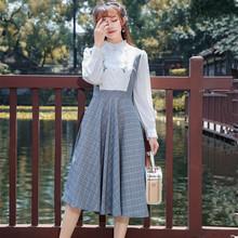 春秋女装复古端庄英伦森系风小立领长袖绣花收腰假两件中长连衣裙