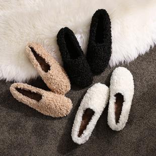 网红毛毛鞋女冬外穿2018秋季平底羊羔毛女鞋一脚蹬豆豆鞋加绒